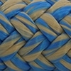 Photo d'un cordage polyester beige et bleu callisto